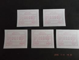TEST-NULDRUK: 5 X Gomdruk E Papier. Nieuwe Cijfers. - Vignettes D'affranchissement