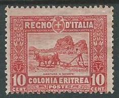 1910-14 ERITREA SOGGETTI AFRICANI 10 CENT MH * - P4-2 - Eritrea