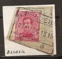 VAFE-2835    SPOORWEGAFSTEMPELING Type C     BELOEIL   OP   10 CENT ROOD ALBERT I - 1915-1920 Albert I