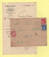 Autrey - Haute Saone - 7-8-37 - Lettre Taxee A Hortes Haute Marne - Courrier De Varennes Sur Amance - Marcophilie (Lettres)