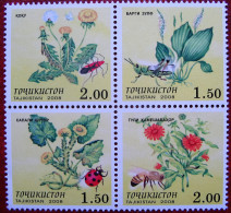 Tajikistan  2008  Plants   Fauna  Insects 4v  MNH - Plantes Médicinales