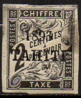 TAHITI - 2 C. Taxe De 1893 Neuf Signé Calves Avec Une Tache De Gras à Droite - Tahiti (1882-1915)
