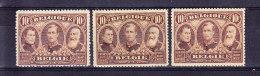 BELGIQUE, COB 149 ** MNH, UNE NUANCE CLAIRE, FONCE + SEPIA. (6C16) - 1915-1920 Albert I