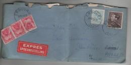 TP 848A Poortman-854 S/L.Exprès Avec Contenu C.Embourg 19/12/1958 V.Plombières En Poste Restante Taxée 15 Frs PR3317 - Belgique