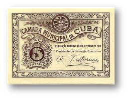 CUBA - Cédula  5 Centavos - 31.12.1919 - M. A. 804 - C/ Selo Branco - Portugal EMERGENCY PAPER MONEY NOTGELD - Portugal