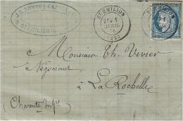 1 AVRIL 1876 - Lettre De St EMILION ( Gironde ) Affr. N°60 Oblit. Cad T 17 - PREMIER JOUR  De L'abandon Des Gros Chiffre - Marcophilie (Lettres)