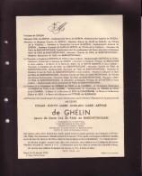 SOLRE-SAINT-GERY Edgar De GHELIN 1866-1935 Bourgmestre époux De PAUL De BARCHIFONTAINE Faire-part Décès BEAUMONT CHIMAY - Obituary Notices