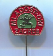 WATER POLO, Wasserbau, Pallanuoto - Club MLADOST, ZAGREB Croatia, Frog Frosch, Vintage Pin Badge, Abzeichen - Water Polo