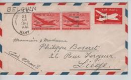USA Air Mail Cover Written From Ponape Caroline Islands C.US Navy 21/1/1947 To Liège Belgium PR3321 - Etats-Unis