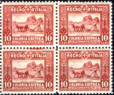 Italia-F01302- Eritrea 1928-29: Sassone N. 130 (++) MNH - 11 Simili Blocchi Di 4 Valori (non A Scelta). - Eritrea