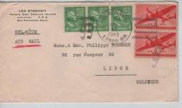 USA Air Mail Cover Written From Ponape Caroline Islands C.US Navy 22/4/1949 To Liège Belgium PR3325 - Etats-Unis