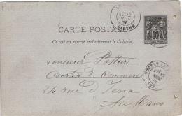 CARTE-POSTALE Sage 10c Noir G1 - 89-CP2 - Nogent Le Rotrou 13 Novembre 1878 Pour Le Mans 14 Novembre 1878 - 2 Lignes - Timbres