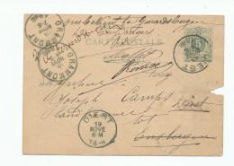 Entier Postal Lion Couché DIEST 1886 Vers ENSBERGEN Via GRAMMONT - Onbekend + Signatures Des Facteurs --  XX560 - Entiers Postaux