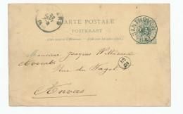 Entier Postal Lion Couché SANTHOVEN 1888 Vers Anvers - Origine Manuscrite HALLE - Prosper De Herdt --  XX561 - Entiers Postaux