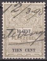 Ned. Indië: 1898 Plakzegel Van N. Ind. 10 Cent Revenue / Fiscaal Met Penvernietiging - Indes Néerlandaises