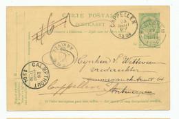 Entier Postal Armoiries BROECHEM 1904 Vers Antwerpen , Réexpédiée à CAPPELLEN , Puis CALMPTHOUT --  XX563 - Entiers Postaux