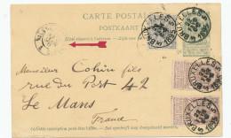 Entier Postal Armoiries + TB Affranch. Complém. MIXTE Lion Et Armoiries BXL 1895 Vers LE MANS France  --  XX566 - Entiers Postaux