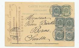 Entier Postal Armoiries + TB Affranch. Complém. BRUGES 1895 Vers BERNE Suisse  --  XX566 - Entiers Postaux