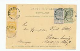Entier Postal Armoiries + TB Affranch. Complém. ANVERS 1894 Vers Allemagne  --  XX567 - Entiers Postaux