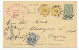 Entier Postal Armoiries + TB Affranch. Complém. BRUXELLES 1896 Vers PRAGUE - TB Destination  --  XX568 - Entiers Postaux