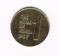 °°° KOREA - SOUTH 1 WON 1967 - Corée Du Sud
