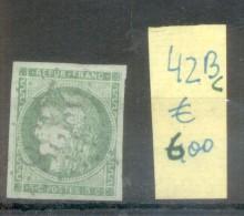CERES EMISSION DITE DE BORDEAUX LITHOGRAPHIE PAPIER TEINTE AN 1871 YVERT NR. 42 Bc Vert Gris Rare  OBLITERE AVEC CERTIFI - 1871-1875 Ceres