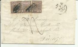 AS023-Lettera Con Coppia + Singolo 5 Baj Stemma Rosa Roma 7/11 1865 - Perfetta - Stato Pontificio