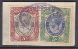 South Africa : Revenue Stamp,1913 George V 5/=, 3/= , Used 1927, On Fragment - South Africa (...-1961)
