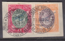 """South Africa : Revenue Stamp,1913 George V """"1, £2 , Used 1930, On Fragment - South Africa (...-1961)"""