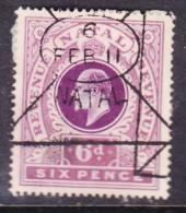 South Africa : Natal, 1910,  EVIIR  6d Revenue - Revenue Stamp,used - Afrique Du Sud (...-1961)