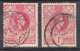 Swaziland: George VI, 1d, Perf13 X 13.5 & Perf 14, Used - Swaziland (...-1967)