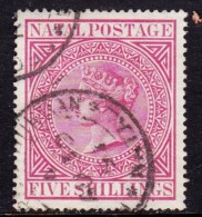 South Africa Natal, 1899, 5/= Carmine, C.d.s Used, - Afrique Du Sud (...-1961)