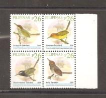 PHILIPPINES 2009 TAILORBIRDS BLOCK OF FOUR P26 - Philippines