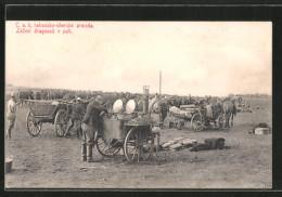 CPA C. A. K. Rakousko-uherska Armada, Lezeni Dragounu V Poli, Ungarische Feldküche - Zonder Classificatie