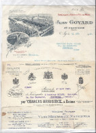 Facture VINS DE CHAMPAGNE Alfred GRATIEN EPERNAY Mousseux PARIS ETB ROYAL GAILLAC AY Jean GOYARD Charles HEIDSIECK REIMS - Factures
