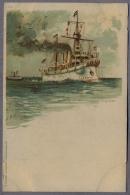 S.M. Kreuzer Kaiserin Augusta Uber 1898  LITHOGRAPHY  C929 - Warships