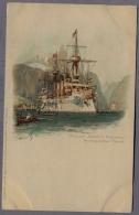 S.M. Kreuzer Kaiserin Augusta In Norwegischer Fjord Uber1898y. Deutsche Kriegsschiff  LITHOGRAPHY  C928 - Guerra