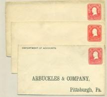 USA - 1903 - 3x Preprinted Stamped Envelope U86, All Different Size, Unused - Postwaardestukken