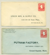 USA - 1904 - 2x Preprinted Stamped Envelope U89, Different Color And Size, Unused - Postwaardestukken