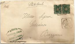 SAVIGNANO PANARO Timbro Quadrato Di Collettoria (Gaggero P. 6) Su Piego Comunale A Bazzano 24/07/1900 - Storia Postale