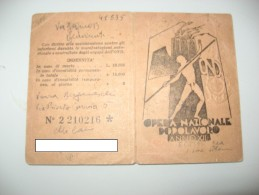 TESSERA FASCISTA OND DOPOLAVORO ANNO XII 1934 EF RILASCIATA DAL SENATO DEL REGNO - Historical Documents