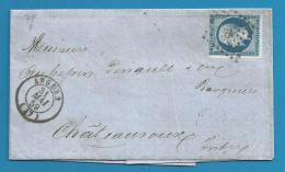 France - Napoleon III N°14A Sur Lettre De ANGERS (PC 78) Vers CHATEAUROUX - Verso Ambulant NANTES - PARIS - CLERMONT - 1849-1876: Période Classique
