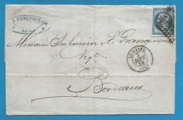 France - Napoleon III N°14A Sur Lettre De LE HAVRE à BORDEAUX - Verso Ambulant - Marcophilie (Lettres)