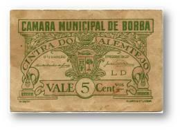 BORBA - CÉDULA 5 CENTAVOS - Série LD - 20 De Maio De 1921 - M.A. 416 - PORTUGAL Emergency Paper Money Notgeld - Portugal