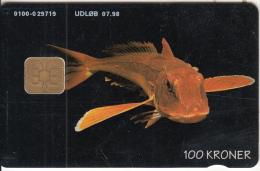 DENMARK(chip) - Scorpion Fish, Danmont Telecard 100 Kr., Tirage 9997, Exp.date 07/98, Used - Pesci