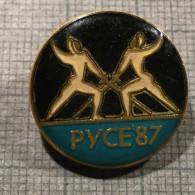 1987 COMPETITION FENCING RUSE BULGARIA VINTAGE OLD ENAMEL PIN BADGE - Fencing