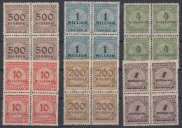 DR Inflation Korbdeckelmuster Lot 6  4er Blöcke Mit Sprung In Rosette HT Postfrisch - Briefmarken