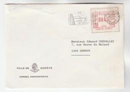 1979 VILLE DE GENEVE CONSEIL ADMINISTRATIF Switzerland COVER METER LABEL ATM FRAMA Stamps - Covers & Documents