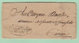 Dép.3 Départements-Conquis   104 TURIN  21.6.1803 + Préfecture Du Dép. Du Pô. + En-Tête Du Préfet. - Marcofilie (Brieven)