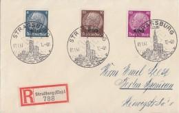 Dt. Besetzung Elsass R-Brief Mif Minr.2,6,12 SST Strassburg 9.1.41 Gel. Nach Berlin - Besetzungen 1938-45